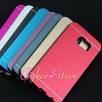 Wholesale Note Metal Aluminium - For Galaxy S6 S7 Edge Note 5 Motomo Metal Aluminium Metal Brush Hard Phone Back Case Cover Shell For Samsung S6 edge plus
