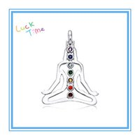Wholesale Crystal Buddha Pendants - High Quality Fashion 39*34mm 30pcs a lot Silver Plated 7 Crystals Religious Buddha Chakra Pendant For Necklace & Pendants