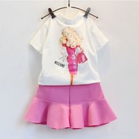Wholesale European Suit Skirt - Summer children clothes girl cartoon suit set t-shirt+skirt 2 pieces 100% cotton pink color 4s l
