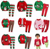 Wholesale Christmas Nightwear Children - Kids Pajamas Sets Children Sleepwear Boys Nightwear Girls Family Christmas Pajamas Girls Cotton Deer Stripe Tops Pants 10 Styles