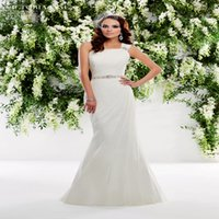 Wholesale One Shoulder Ronald Joyce - 2016 Ronald Joyce One Shoulder Mermaid Wedding Dresses Backless Illusion Sleeveless Court Train Dress With Sash White Bridal Gowns L7754