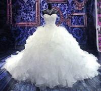 vestido de novia catedral cariño al por mayor-2019 de lujo bordado con cuentas de bola del vestido de boda de los vestidos de la princesa del vestido del corsé del Organza del amor riza el Tren de la catedral Vestidos de novia barato