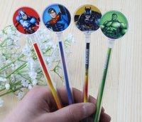 Wholesale Superhero Pens - 2016 Cute Korea stationery Superhero 0.38mm gel pens The Avengers black color student Gifts free shipping