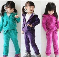 Wholesale light blue leisure suit - children pink green purple fashion leisure velvet suit hoodies+pants 2 pcs 5 sizes 3 colors free shipping