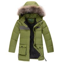 Wholesale Boys Jacket 14 - Children winter jacket 6 - 14 years big fur hood fashion down jacket for boy thickness casual boys parkas kids outerwear coat