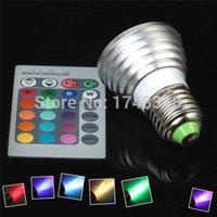 Vente en gros Hot-E26 E27 LED RGB Multi-Changer la couleur Magic Party Ampoules lampe d'éclairage W / Télécommande IR