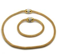 Wholesale Mesh Bracelets China - Hot Sale Style Gold Jewelry Set Stainless Steel Magnetic Crystals Mesh Chain Bracelet Necklace Necklace 45cm Bracelet 19cm