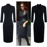 Wholesale Womens Xxl Vintage Dresses - Womens Summer Black Long Sleeve Vintage Tunic Workwear Bodycon Pencil Business Tunic Party Dresses Size SM-XXL 1419