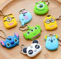 Wholesale Kawaii Key Hooks - minion keychain Kawaii Cartoon Monsters Minions Etc. Rubber Key Cover Chain Holder Keychains KEY Hook Cap Case Key Coat Wrap7 styles