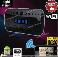 Wholesale Ip Camera Display - Video Camera Clock Cam P2P IP H.264 HD 1080P Wifi Camera Alarm Clock Night Vision Motion Detection Display Temperature