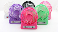 Wholesale Battery Operated Fan Wholesale - Free DHL Portable Mini USB Fan Rechargeable Battery Operated LED Lamp for Indoor Outdoor Kids Table 18650 Battery
