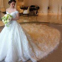 Wholesale Bridal Dresses Handwork - Luxury Dubai Wedding Dress A Line Off the Shoulder Beaded Lace Appliques Cathedral Train Bridal Gowns Illusion Back Expensive Handwork