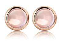 Wholesale Pink Rose Quartz Jewelry - Natural Pink Rose Quartz Crystal QUARTZ candy round earrings female S925 silver rose gold stud earrings jewelry