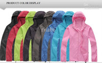 Wholesale Red Skin Jacket - Outdoor original brand men women ultralight quick drying anti UV sports skin jacket Camp Windproof waterproof raincoat Hooded skin coat suit