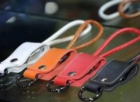 Wholesale Type Rope Lighting - Leather android charging cable short key chain hanging rope portable