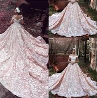 robes de mariée cathédrale rose achat en gros de-Luxe blush rose 2019 concepteur robes de mariage superbes épaule blanche dentelle Appliqued train cathédrale robes de mariée robe de mariée BA3863