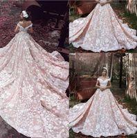 Wholesale Designer Pink Skirt - Luxury Blush Pink 2018 Designer Stunning Wedding Dresses Off Shoulder White Lace Appliqued Cathedral Train Bridal Gowns Wedding Dress