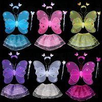 Wholesale Children Wings Dance - Lovely Children Dance Performance Stage Halloween Costume Kids Dancewear With Skirt Butterfly Fairy Wings Head Band and Stick