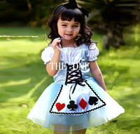 Wholesale American Poker - carnival costume alice in wonderland girls fantasy dresses fantasia halloween alice poker dress cosplay maid costume princess alice in stock