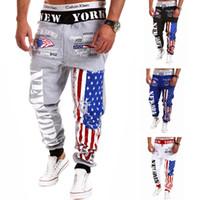 Wholesale Hot Slacks - Hot New York Pants Fashion Men's Casual Sweatpants Baggy Harem Slacks American US Flag Printing Trousers Jogger Dance Sportwear Feet pants