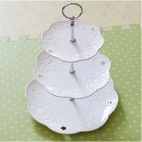 New Arrival 100pcs / lot EMS! 3 Tier Cake Stand Center Handle Cake Stand Handle Gold Silver 6 Style