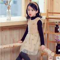 Wholesale Girls Tweed Dress - Kids vest dresses Girl five-pointed star fluffy Tulle dress Autumn Winter Children splicing love hearts Gauze dress Kid princess dress C2103