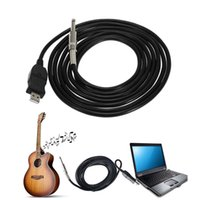 Wholesale Recording Cables - New Guitar Bass 1 4'' 6.3mm To USB Link Connection Instrument Cable Adapter for PC MAC Recording 3M V1663