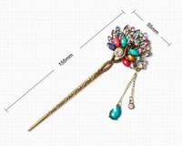 pedrería china al por mayor-Diseño chino Vintage Plateado Rhinestone Resina Peacock Horquillas Bohemian Ladies hairstick 6 Colores Disponibles joyería del pelo de las mujeres SF446