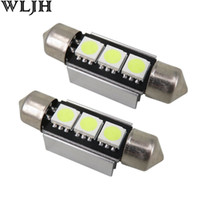 Wholesale Led Error Free 36mm - WLJH CANBUS Error Free Led Festoon 36mm 3 SMD 5050 6418 C5W Bulbs Nonpolarity 12v Interior Light Dome Lamp License Light