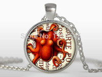 Wholesale Octopus Pendant Necklace - Steampunk red octopus pendant Silverplated round glass dome necklace charm art photo necklace for women jewelry n320