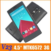 Wholesale Dual Sim Android Quad Band - V23 4.5 Inch Dual Core 4GB 512M RAM Android 4.4 3G WCDMA Smart Phone Dual Sim Wifi BT MTK6572 Quad Band Unlocked Leather Case Free shipping
