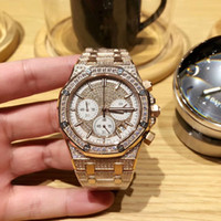 Wholesale imported products - 2018 Factory Outlet New Product AAA Quality 25978 Men's Diamond Stainless Steel Watch Import VK Quartz 43mm Men's Diamond Watch
