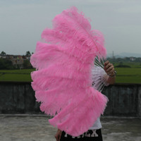 Wholesale Large Burlesque Fans - single layer Pink Large Ostrich Feather Fan Craft Feather Fan Burlesque friend 25 inch by 45 inch