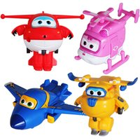personnages de transformateur achat en gros de-Super Wings Transforming Mini Planes 4pcs / set Toys Funny Flux China Anime TV Animation Personnage Transformer Robot Figurines d'action Cadeau pour enfants