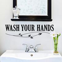 cotizaciones de pared de vinilo para baño. al por mayor-Lávese las manos etiqueta de la pared cotizaciones Cuarto de baño pared del inodoro Cartel de la decoración Impermeable Vinilo del arte calcomanías de pared de baño