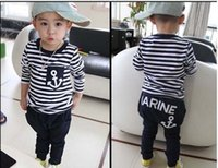 Wholesale Long Navy Pants Boys - 2015 Spring Autumn new fashion Fashion Boys Girls Marine Navy Striped T shirt +long Pants Suits Children's Clothing C001
