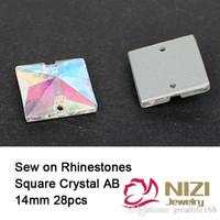 Wholesale Diy Sew Stones - Square Glass Rhinestones 14mm Sew On Flatback DIY Stone And Crystals Sewing Strass Stones With 2 Holes Wedding Veils Rhinestones