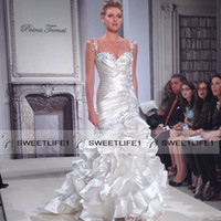 Wholesale Wedding Pnina Tornai - Pnina Tornai Elegant Mermaid Bridal Gowns Beaded Spaghetti Straps Sweetheart Pleated Bodice Sexy Wedding Gowns Backless Sweep Train