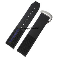 Wholesale 22mm silicone watch strap - JAWODER Watchband 22mm Men Black Diver Silicone Rubber Deployment Clasp Curved End Watch Strap for Ome 326.32.40.50.01.001