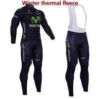 Wholesale Movistar Long Sleeve - 2017 Pro team Movistar winter thermal fleece cycling jersey ropa ciclismo long sleeve bicicleta cycling clothing with bib pants set