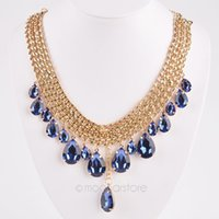 Wholesale Drop Gem Necklace - 5 Colors Fashion Women Crystal Rhinestone Choker Necklace, Gold Chain Water Drop Gem Pendant Necklace Jewelry #7