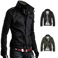 Wholesale Military Winter Trench Coat Jacket - S5Q Men's Outerwear Overcoat Cotton Military Slim Fit Stand Collar Jacket Warm Winter Trench Coat AAAEBF