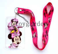 Wholesale Pouch Strap Wholesale - New Lot 30pcs Good quality mickey mouse Lanyard strap Cell Phone ID Key Holder + pouch + soft dangler Wholesale free shipping