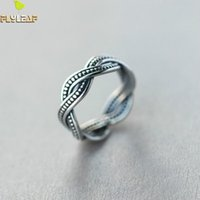 Al por mayor- Flyleaf 925 Sterling Silver Twisted Open Rings para mujeres Vintage Style Lady Sterling-silver-jewelry