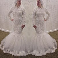 Wholesale muslim wedding dress collar resale online - 2016 Vingtage Muslim Long Sleeves Wedding Dresses High Collar Mermaid Lace D Floral Appliques Long Sleeves Plus Size Arabic Bridal Gowns