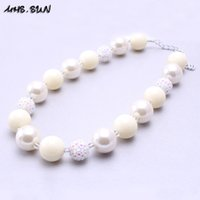Wholesale Stainless Steel Neck Chains - MSH.SUN 2pcs Chunky White beads Necklace Resin rhinestone beads Necklace Bubblegum neck jewelry for Kids BN086