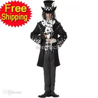 Wholesale Cosplay Mad Hatter - Wholesale-Dark Mad Hatter Men's black Fancy Dress Fairy tale Alice In Wonderland cosplay adult Halloween Costumes for men party