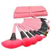 Wholesale 24 Brushes Pink - Professional 24 pcs Makeup Brushes Set Charming Pink Cosmetic Eyeshadow Brushes Make Up Kits Free Shipping