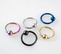 Wholesale Titanium Anodized Lip Rings - 40pcs 16G Titanium Anodized Stainless Steel Captive Bead Ring Tragus Earring BCR Hoop Nose Piercing Lip Septum Ring