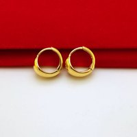 Wholesale Curved Ear - E027 24k Gold Plated Hoop Earrings High Quality Wedding Gold Earrings Smooth Curved Ear Ring For Women 20pcs mixed